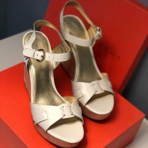 Ivanka Trump Shoes - Ivory Leather Ivanka Trump Wedges Sz 9